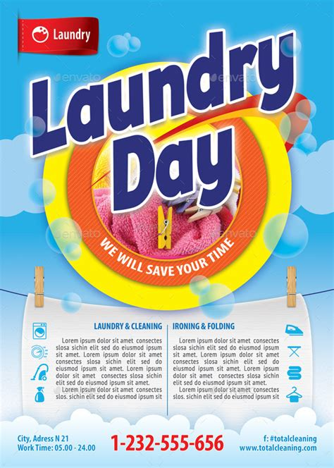 laundry design poster laundry service flyer template 112 by 21min graphicriver