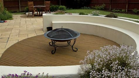 Curved Fire Pit Bench Suburban Style Rogerstone Gardens Cardiff Garden Design