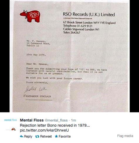 Rejection Letter U2 U2 A Carta Q Uma Gravadora Enviou A Bono Rejeitando Sua M 250 Sica Oscar Blue