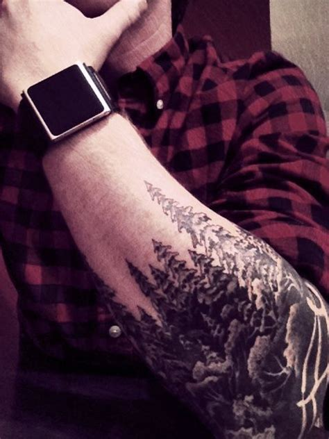 fence tattoo pine evergreen forest trees with reversed out fence i