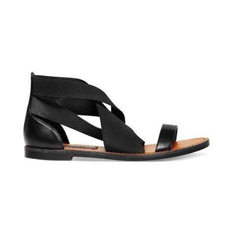 steve madden flat sandals steven by steve madden scarlit flat sandals in black lyst