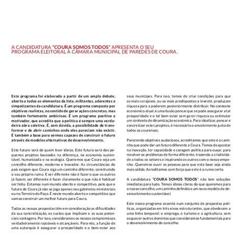 Modelo Curricular De Manuel Castro Pereira Coura Somos Todos Programa Da Candidatura