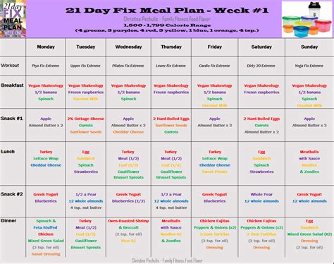 21 day fix color code family fitness food flavor weekly meal plan 3 2 15