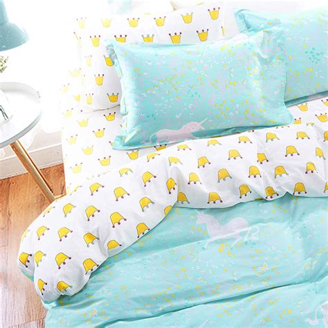 kawaii comforter cotton scandinavia kawaii crown unicorn bedding set teen