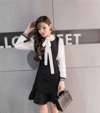 Mini Dress Pesta Korea Hitam Putih Tanpa Lengan Impotr Murah dress hitam putih lengan panjang 2017 model terbaru jual murah import kerja