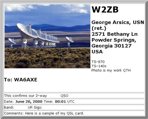 Station Setup And Qsl Cards W2zb George Arsics Qsl Card Template 2