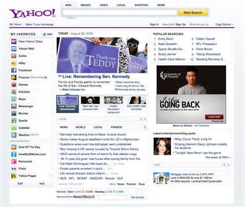 new yahoo homepage search marketing communications