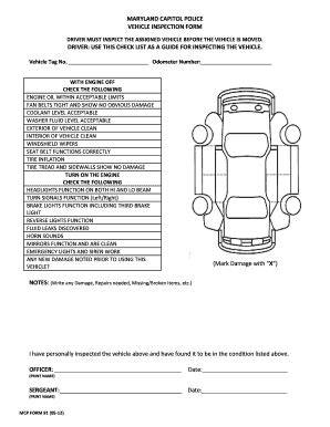 vehicle inspection sheet fill online printable