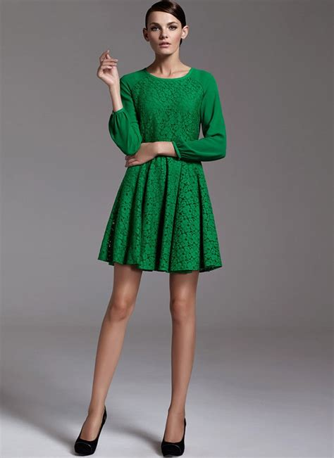 Premium Mini Dress Import Original Gradient Two Colour green lace fit n flare mini dress with raglan sleeves rd183 robeplus