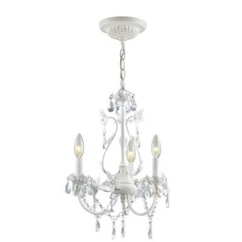 white mini chandelier hton bay kristin 3 light antique white hanging mini