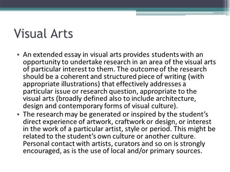 arts and cultural management critical and primary sources books international baccalaureate the extended essay ppt