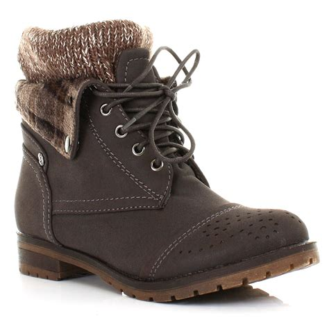 ankle boots knitted cuff womens lace up knit check cuff worker leather style