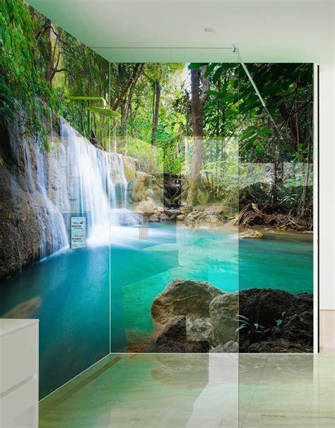 Wall Mural Printing paradise waterfalls printed shower panels splash acrylic