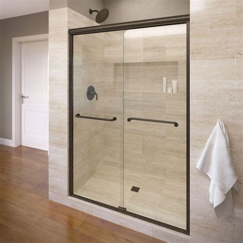 Bronze Shower Doors Basco Infinity 58 1 2 In X 70 In Semi Frameless Sliding Shower Door In Rubbed Bronze With