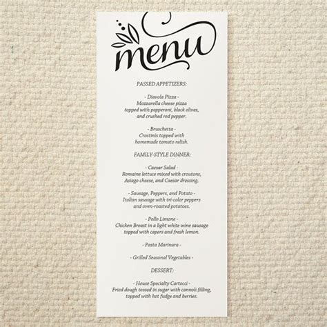 diy wedding menu template diy wedding menu cherish script printable pdf