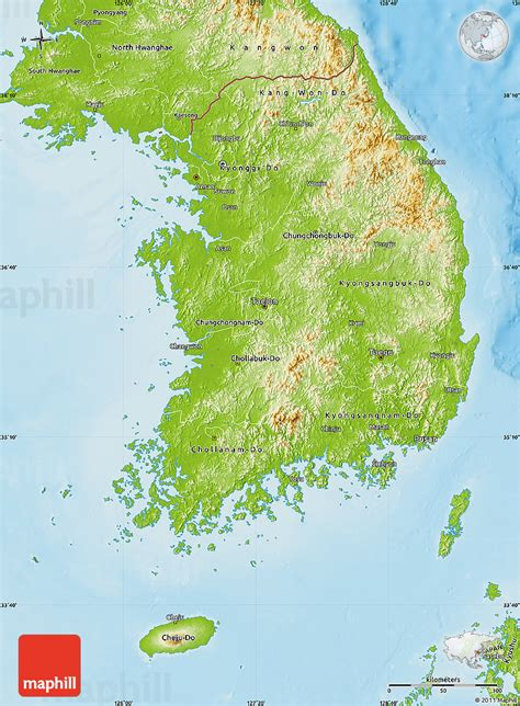 korea physical map physical map of south korea