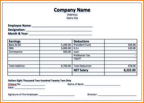 sample  salary voucher simple salary slip