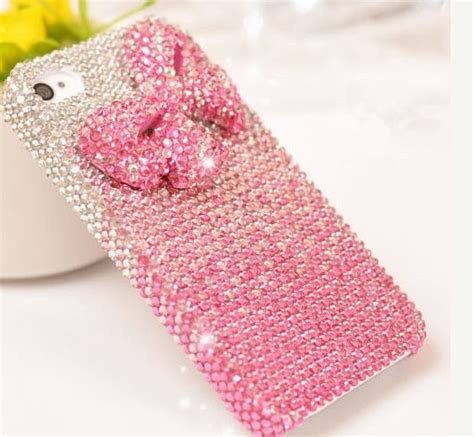 Casing Iphone 5 5s Se Fashion Chrystanium Flower pink bow rhinestones mobile phone cover girly