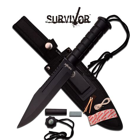 12 inch knife survivor 12 inch fixed blade survival knife army black abs