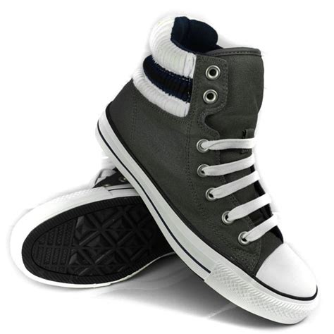 Convers Grey Cover Grey converse padded collar hi trainers charcoal grey white