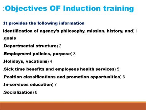 induction and orientation objectives types of staff development