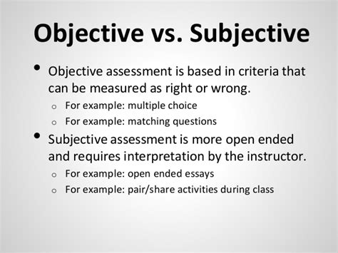 exles of objective and subjective statements basics of information literacy assessment