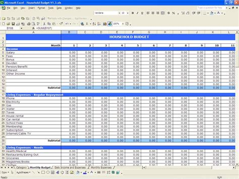 excel home budget template best photos of household budget excel spreadsheet
