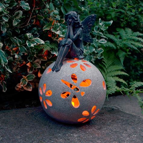 Solar Powered Siting Angel LED Garden Ornament Patio