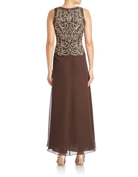 j kara beaded bodice gown j kara beaded bodice gown in brown lyst