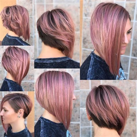 half head highlights on asymetrical bob women s chic asymmetrical bob with rosy brown color and