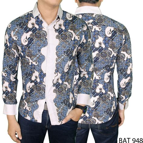 Kemeja Etnik Katun Lengan Panjang kemeja batik pria lengan panjang eksklusif katun biru tua bat 948 elevenia