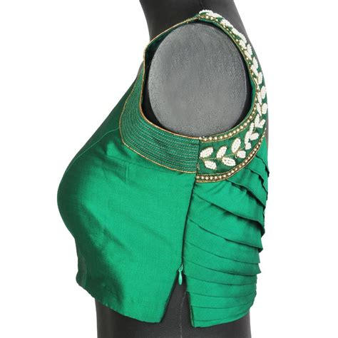 boat neck side zip blouse green sleeveless stitched blouse with pearl work on
