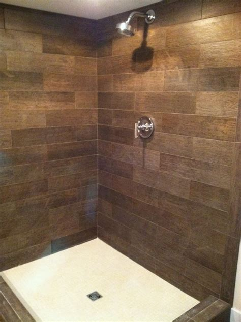 wood look tile bathroom 17 best images about wood tile shower on
