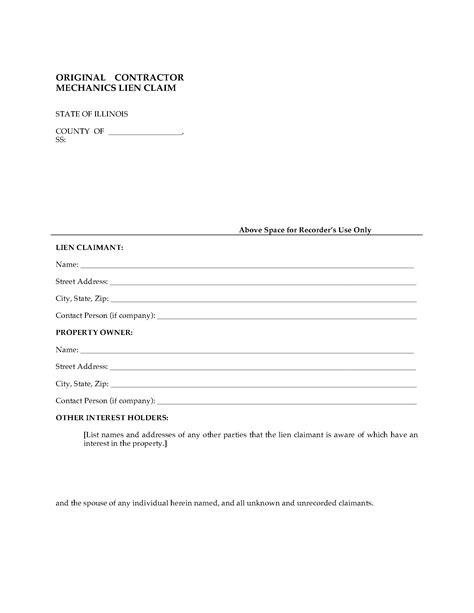 Letter Of Intent Lien Illinois Original Contractor Mechanics Lien Claim Forms And Business Templates Megadox