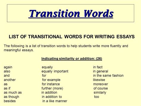 Words To Use When Writing An Essay by Essay Transition Phrases