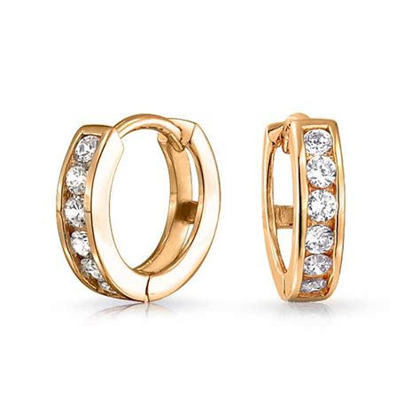gold vermeil small cz huggie sterling silver hoop earrings