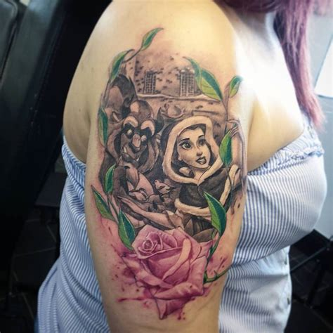 beauty and the beast tattoo designs and the beast disney tattoos