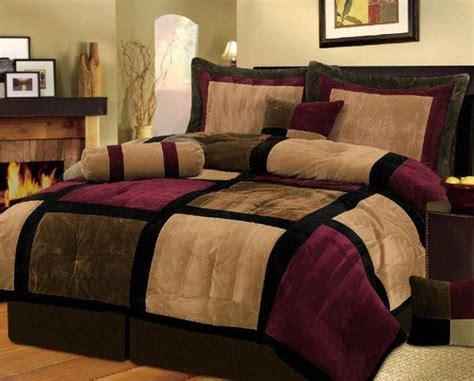 Portland Burgundy King Size Luxury 7 Pc Modern Black Burgundy Brown Suede Comforter Set Bed In A Bag California Cal King