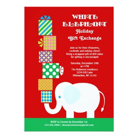 white elephant holiday gift exchange invitation 5 quot x 7