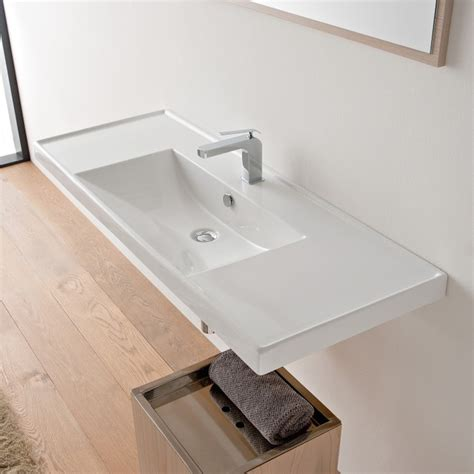 Rectangular white ceramic self rimming or wall mounted bathroom sink one hole contemporary