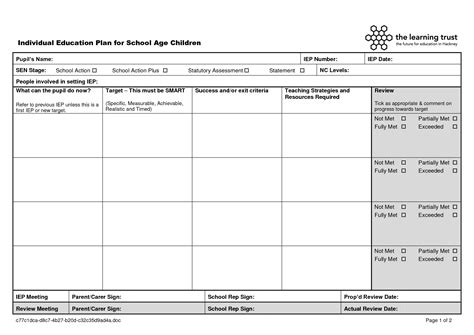 Plan Template Education 2 Education Templates Individual Education Plan Template School Age Educational Templates