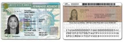 sample permanent resident card also known as green card