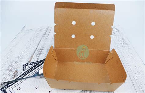 Food Grade Brown Kraft Paper Food Box Ukuran 45oz 1 350ml disposable brown kraft paper food box with vent holes