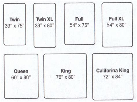 mattress sizes chart mattress california king beds and