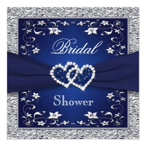 blue and silver bridal shower invitations navy blue silver floral hearts bridal shower invites