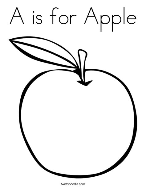 coloring page apple a is for apple coloring page twisty noodle