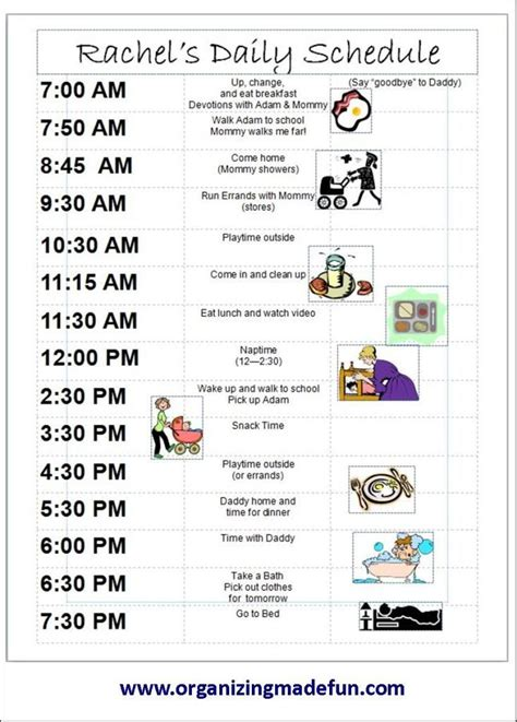 printable daily schedule for adhd child 13 best images about schedule for kids on pinterest back