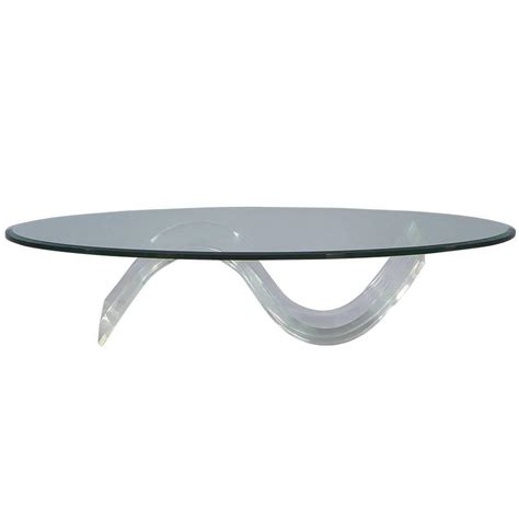 Mid Century Modern Coffee Table Glass Oval Mid Century Modern Glass Lucite Cocktail Table At 1stdibs