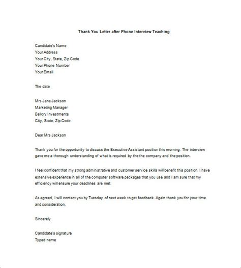 thank you letter after for teaching position 8 thank you note after phone free sle