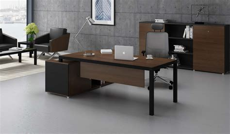 office tables sleek office desk with storage in walnut black finish